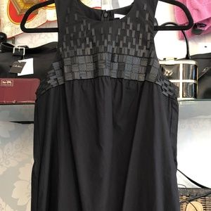 VINCE Black 100% Cotton Sleeveless Dress